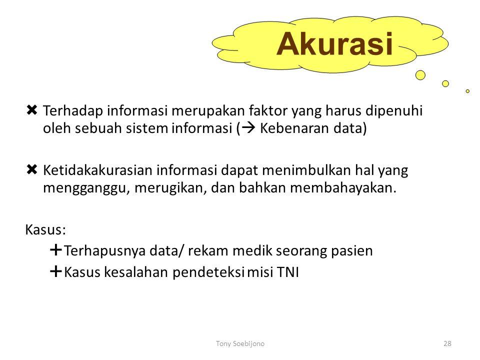 Akurasi Terhadap informasi merupakan faktor yang harus dipenuhi oleh sebuah sistem informasi ( Kebenaran data)