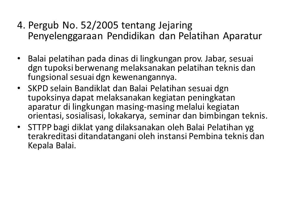 4. Pergub No. 52/2005 tentang Jejaring Penyelenggaraan Pendidikan dan Pelatihan Aparatur