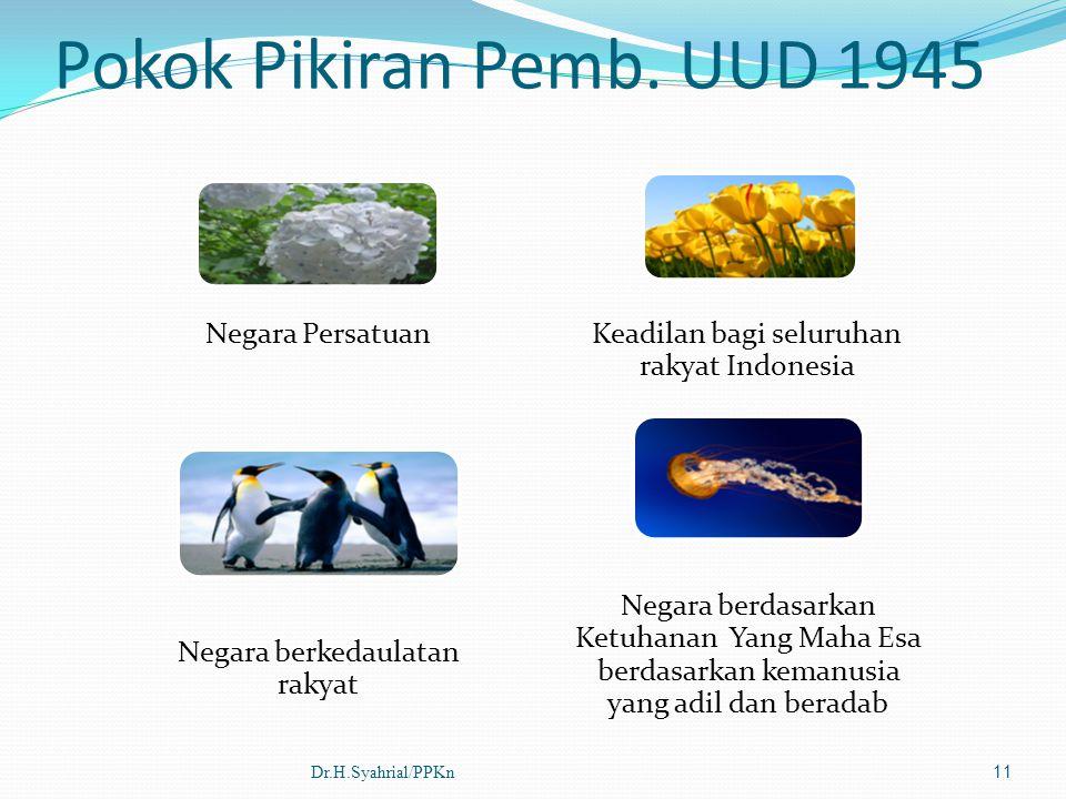 Pokok Pikiran Pemb. UUD 1945 Negara Persatuan