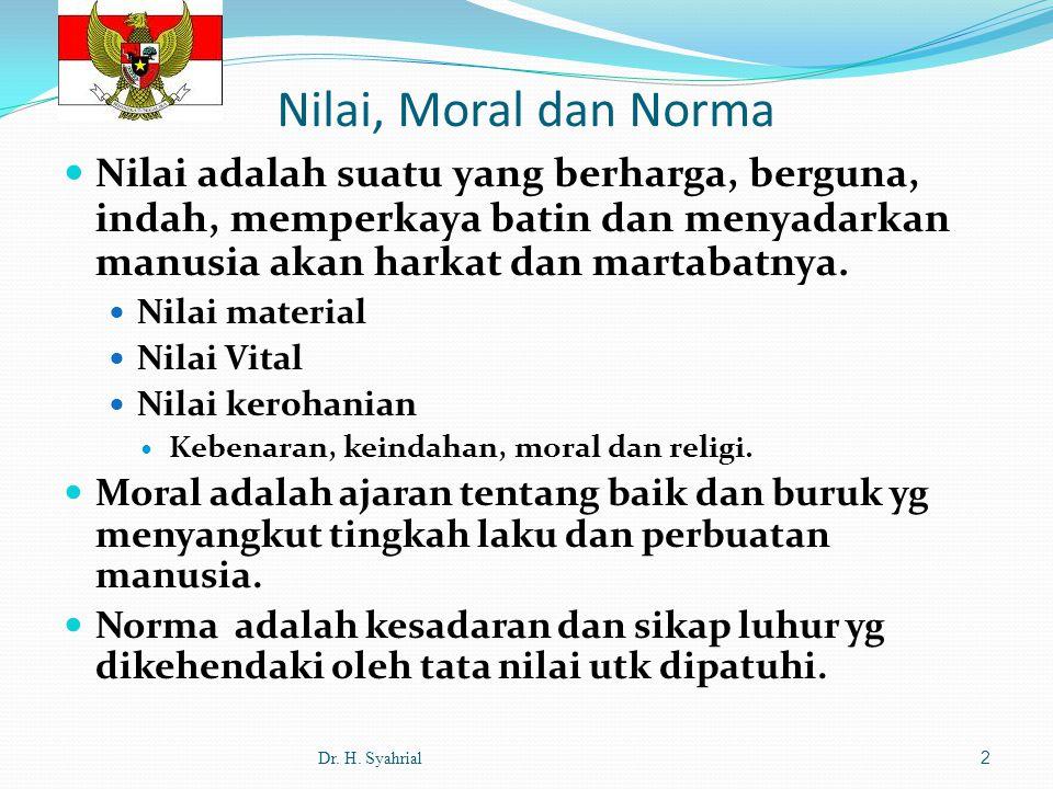 Nilai, Moral dan Norma Nilai adalah suatu yang berharga, berguna, indah, memperkaya batin dan menyadarkan manusia akan harkat dan martabatnya.