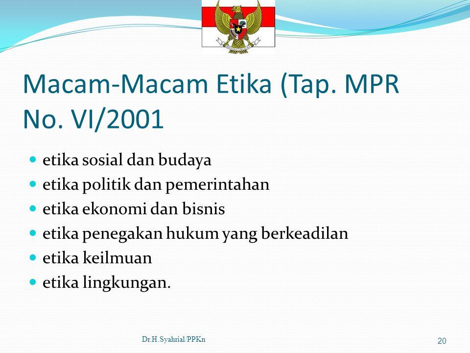 Macam-Macam Etika (Tap. MPR No. VI/2001