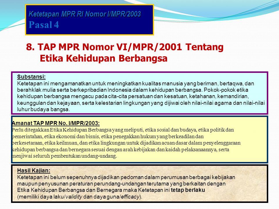 Pasal 4 8. TAP MPR Nomor VI/MPR/2001 Tentang Etika Kehidupan Berbangsa