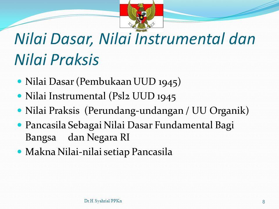 Nilai Dasar, Nilai Instrumental dan Nilai Praksis