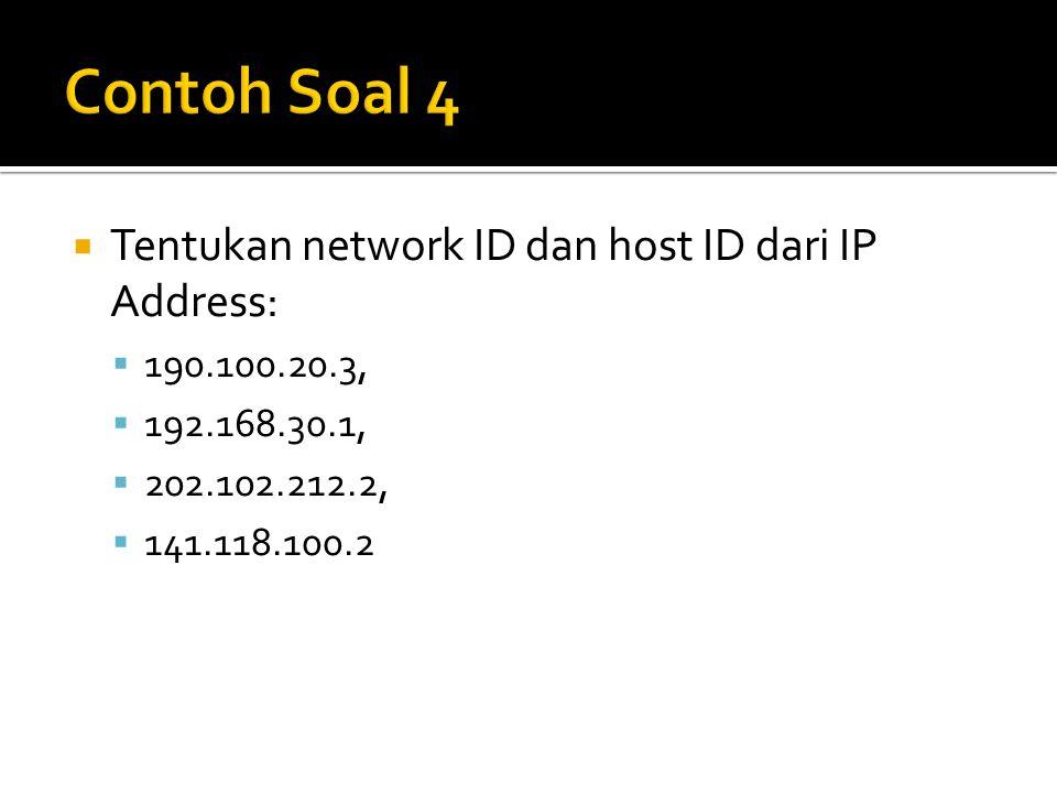 Contoh Soal 4 Tentukan network ID dan host ID dari IP Address: