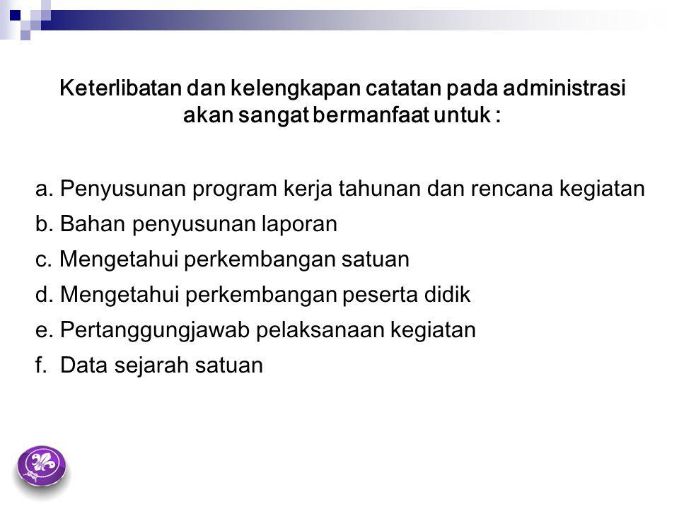 Keterlibatan dan kelengkapan catatan pada administrasi akan sangat bermanfaat untuk :