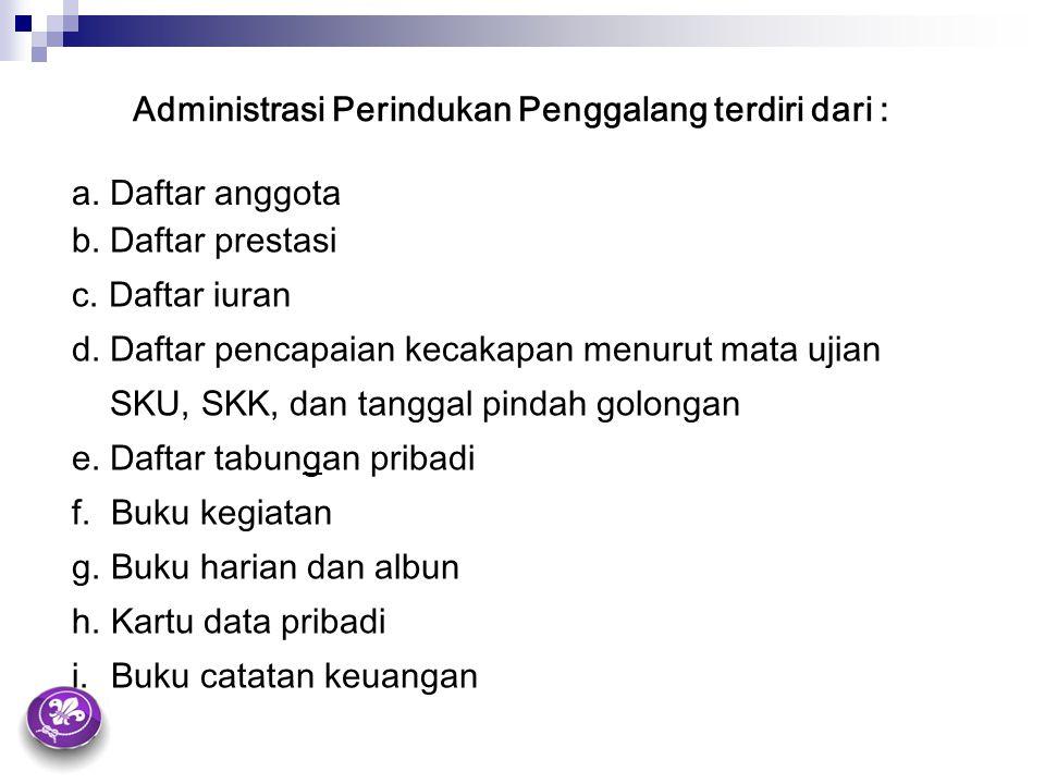 Administrasi Perindukan Penggalang terdiri dari :