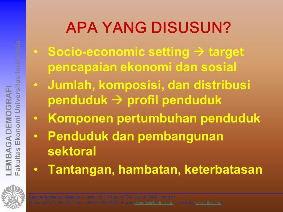 Apa yang disusun Socio-economic setting  target pencapaian ekonomi dan sosial. Jumlah, komposisi, dan distribusi penduduk  profil penduduk.