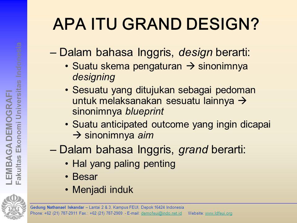Apa itu grand design Dalam bahasa Inggris, design berarti: