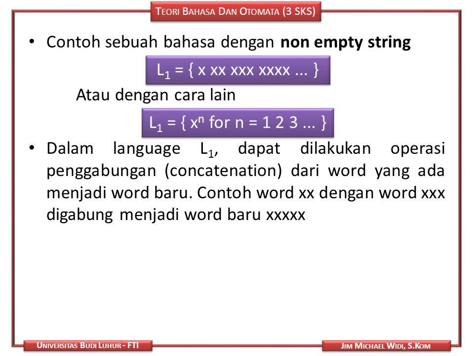 Contoh sebuah bahasa dengan non empty string
