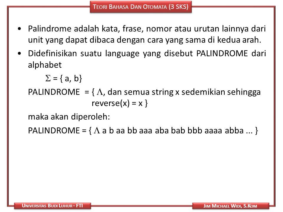 Palindrome adalah kata, frase, nomor atau urutan lainnya dari unit yang dapat dibaca dengan cara yang sama di kedua arah.