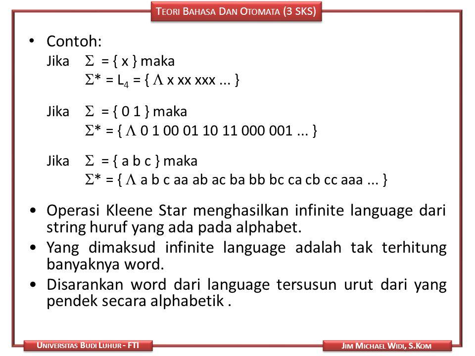Yang dimaksud infinite language adalah tak terhitung banyaknya word.