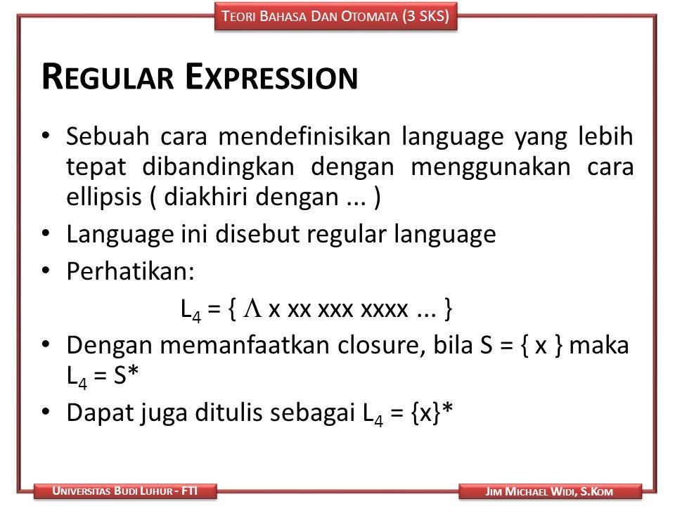 Regular Expression Sebuah cara mendefinisikan language yang lebih tepat dibandingkan dengan menggunakan cara ellipsis ( diakhiri dengan ... )