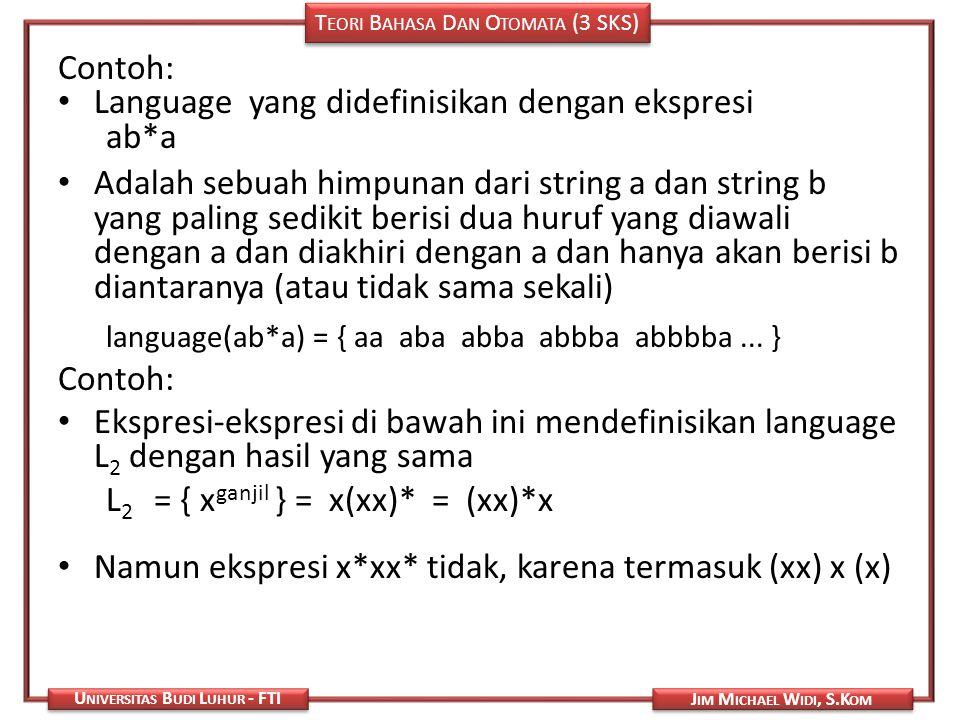 Language yang didefinisikan dengan ekspresi ab*a