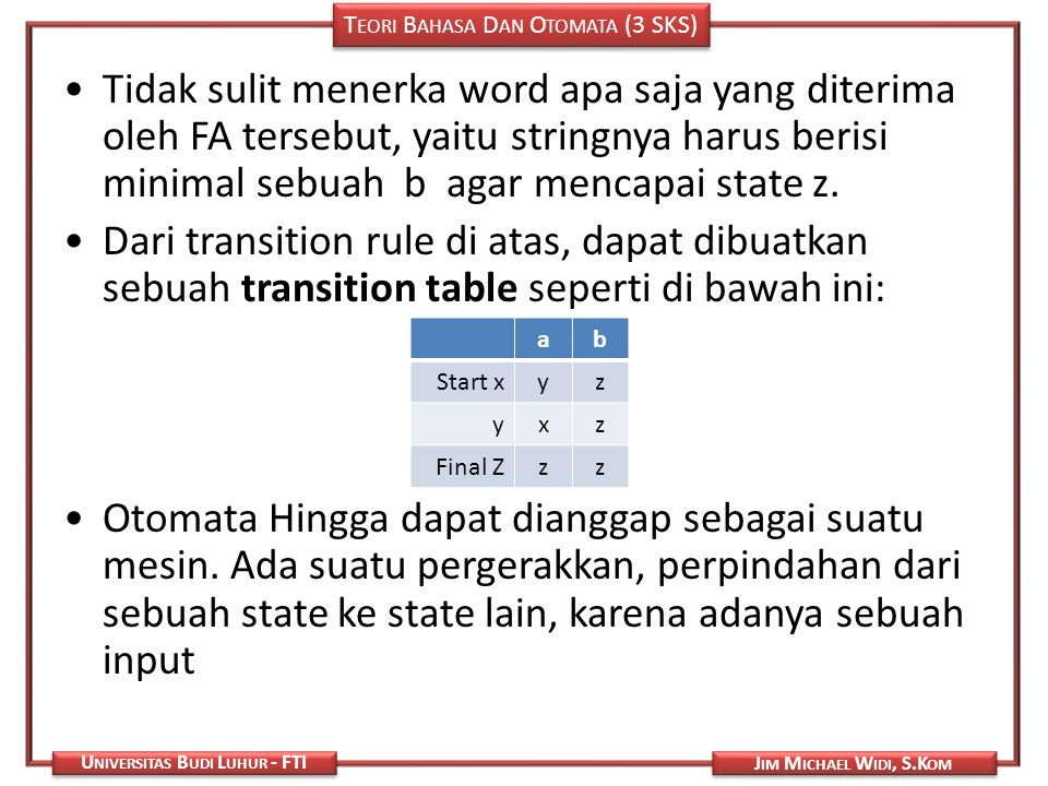 Tidak sulit menerka word apa saja yang diterima oleh FA tersebut, yaitu stringnya harus berisi minimal sebuah b agar mencapai state z.