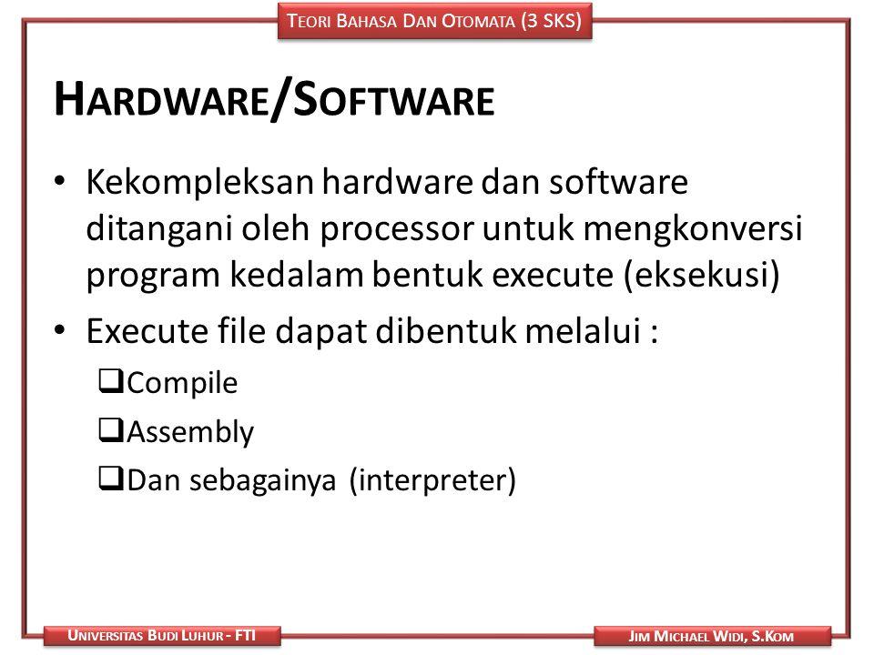 Hardware/Software Kekompleksan hardware dan software ditangani oleh processor untuk mengkonversi program kedalam bentuk execute (eksekusi)