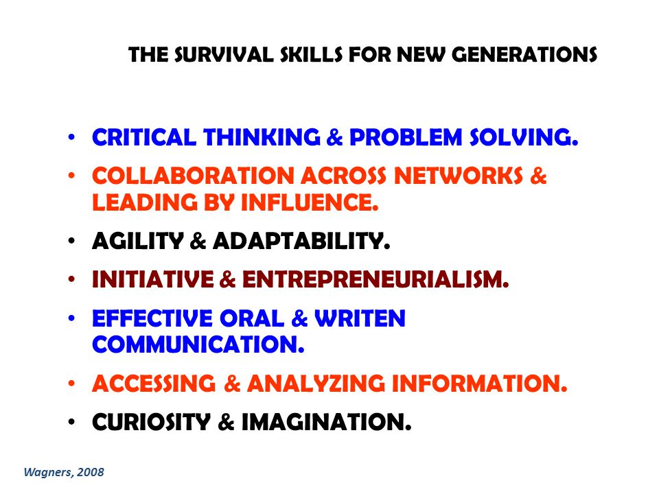 THE SURVIVAL SKILLS FOR NEW GENERATIONS