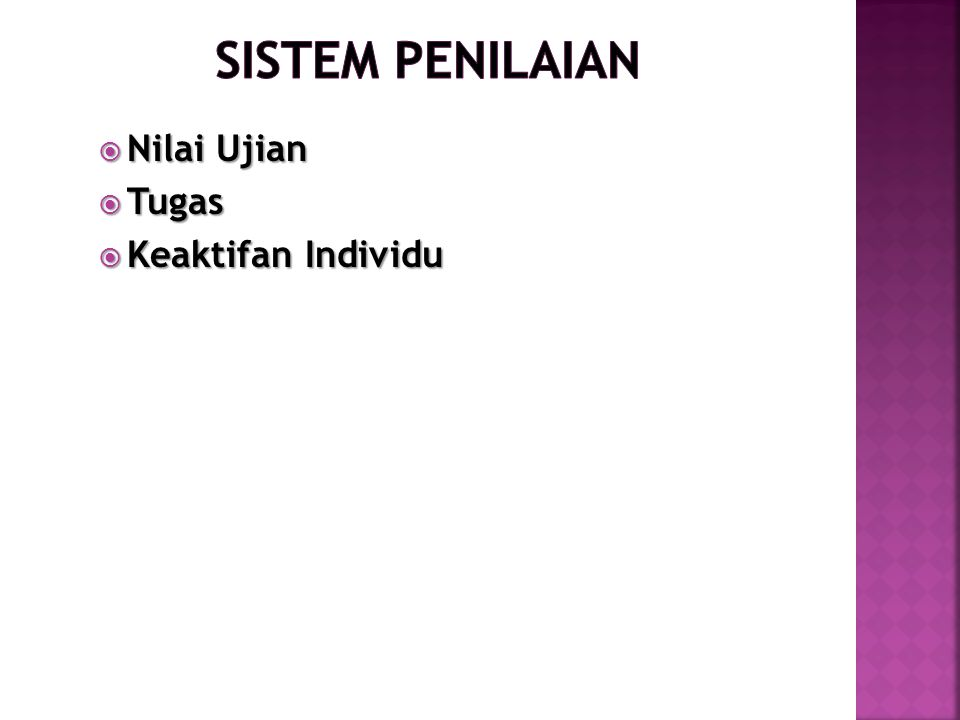 Sistem penilaian Nilai Ujian Tugas Keaktifan Individu