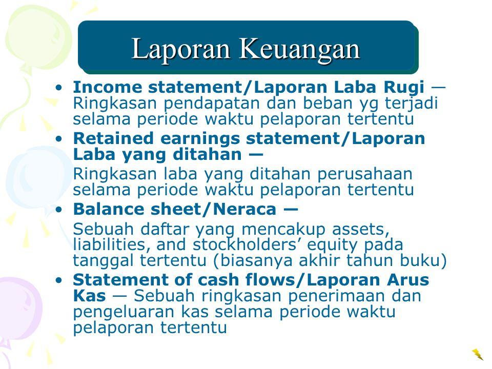 Laporan Keuangan Income statement/Laporan Laba Rugi —Ringkasan pendapatan dan beban yg terjadi selama periode waktu pelaporan tertentu.