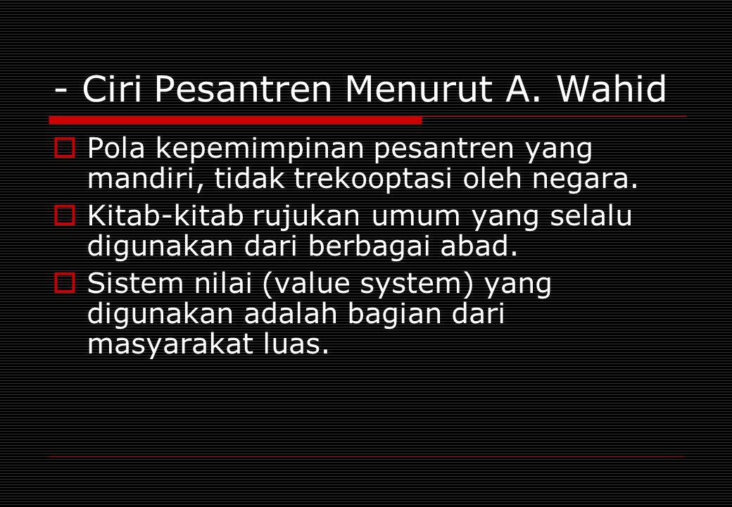 - Ciri Pesantren Menurut A. Wahid