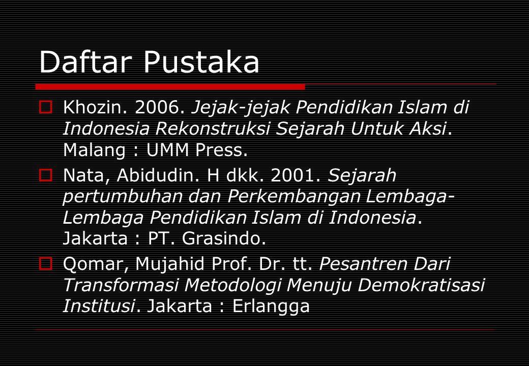 Daftar Pustaka Khozin. 2006. Jejak-jejak Pendidikan Islam di Indonesia Rekonstruksi Sejarah Untuk Aksi. Malang : UMM Press.