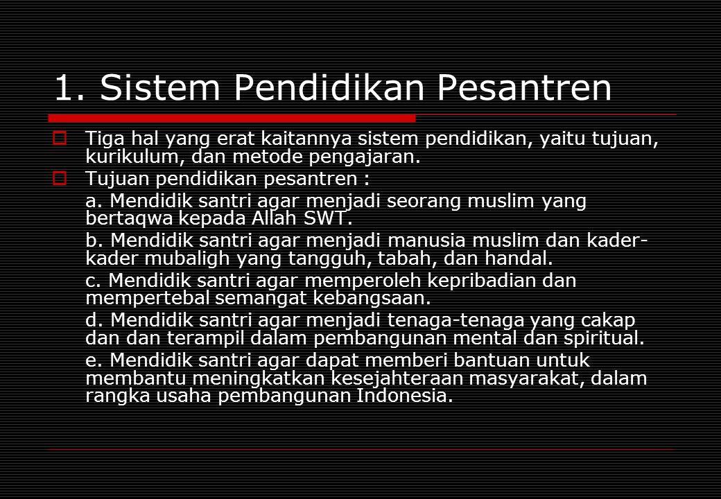 1. Sistem Pendidikan Pesantren