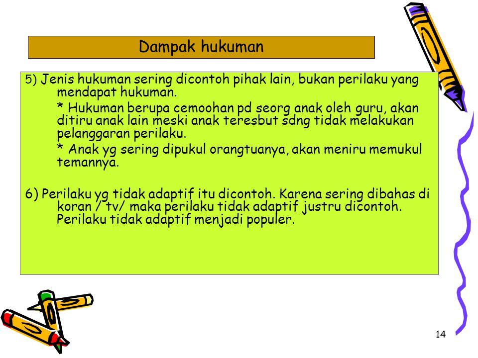 Dampak hukuman 5) Jenis hukuman sering dicontoh pihak lain, bukan perilaku yang mendapat hukuman.