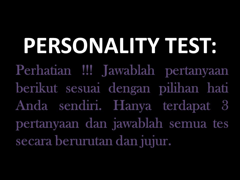 PERSONALITY TEST: