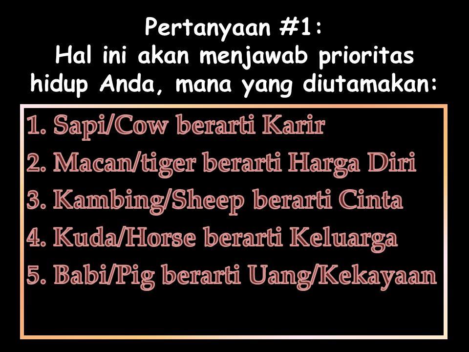 Sapi/Cow berarti Karir Macan/tiger berarti Harga Diri