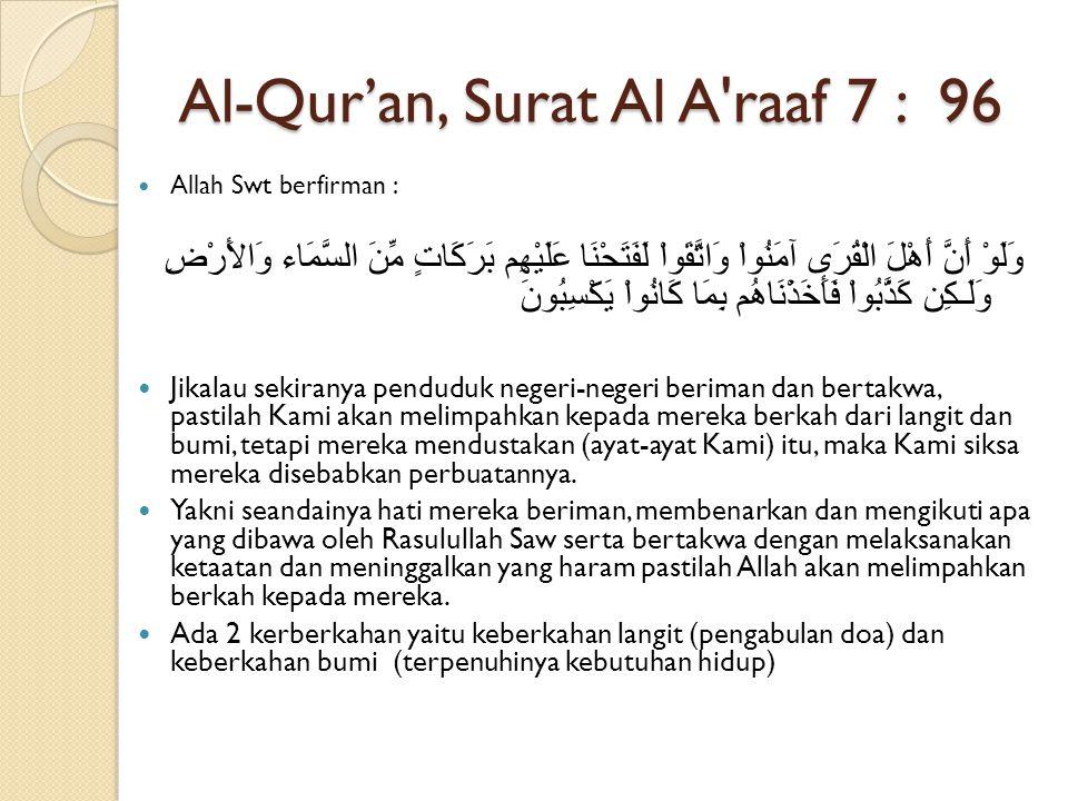 Al-Qur'an, Surat Al A raaf 7 : 96