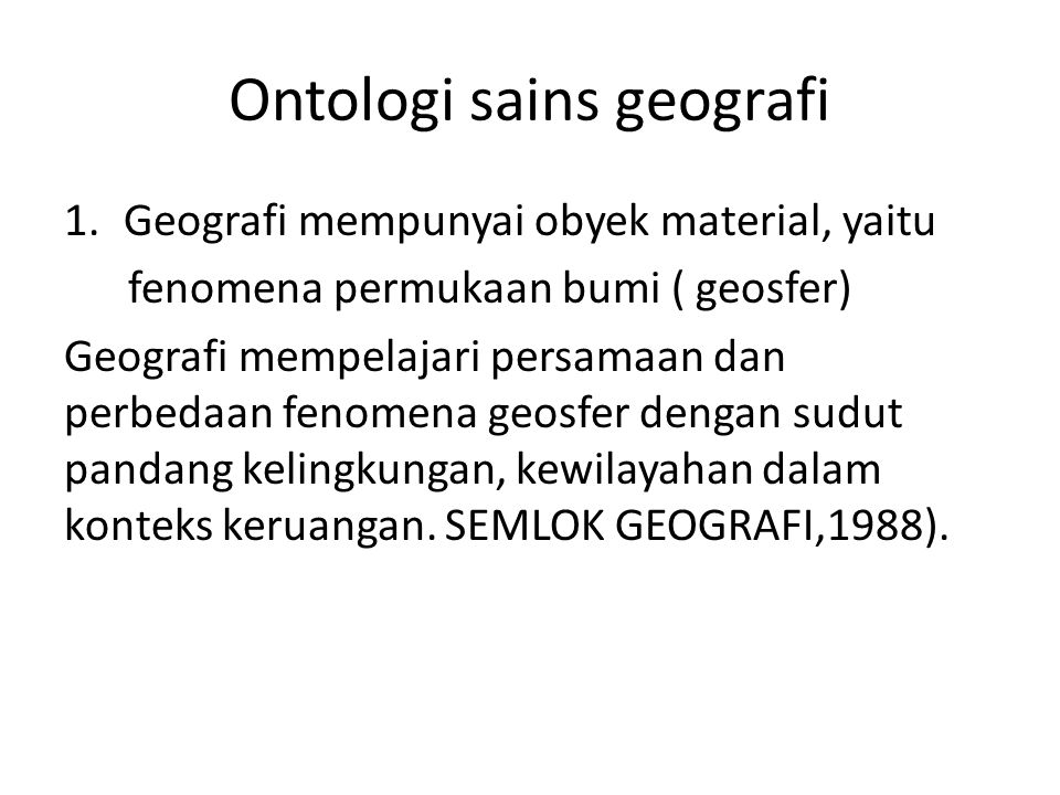 Ontologi sains geografi