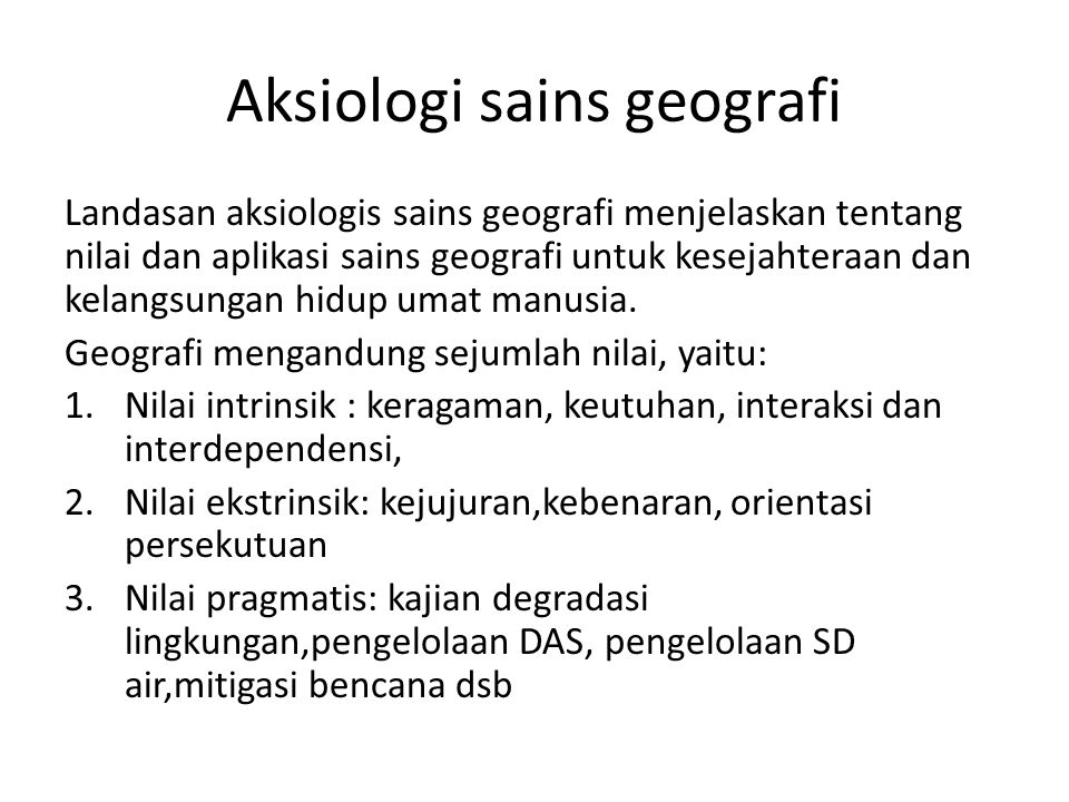 Aksiologi sains geografi