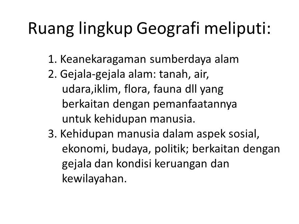 Ruang lingkup Geografi meliputi: