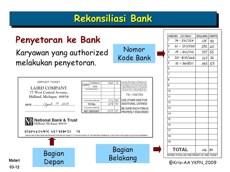 Rekonsiliasi Bank Penyetoran ke Bank