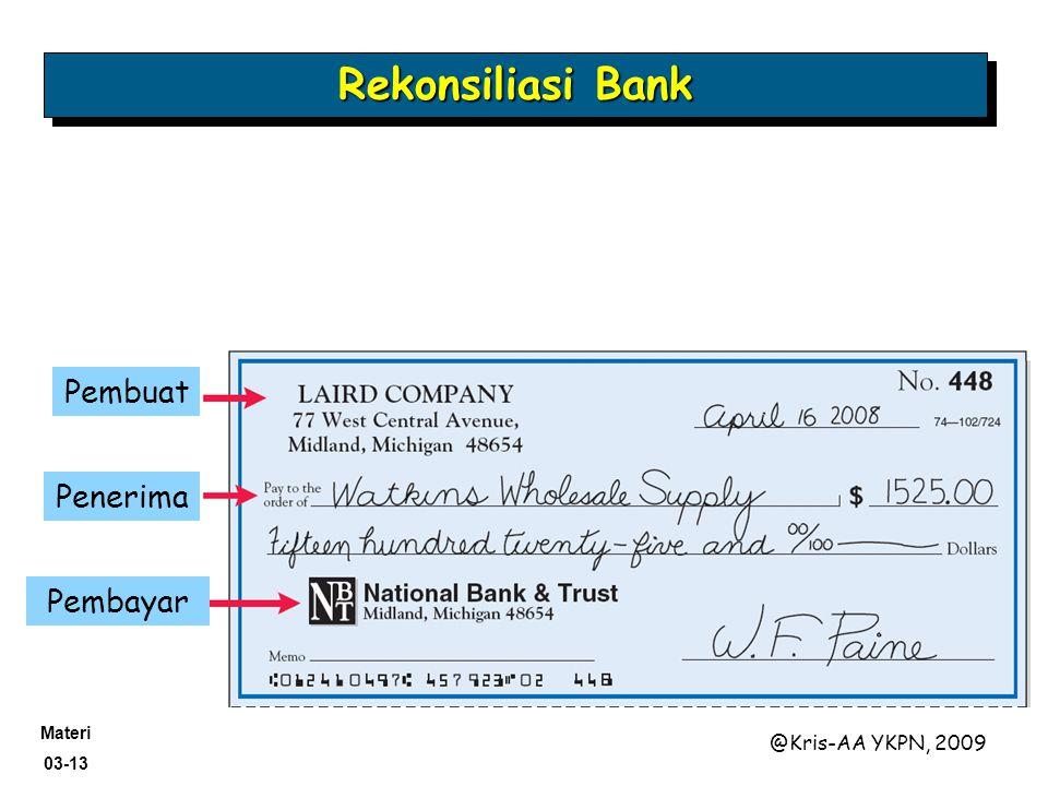 Rekonsiliasi Bank Pembuat Penerima Pembayar