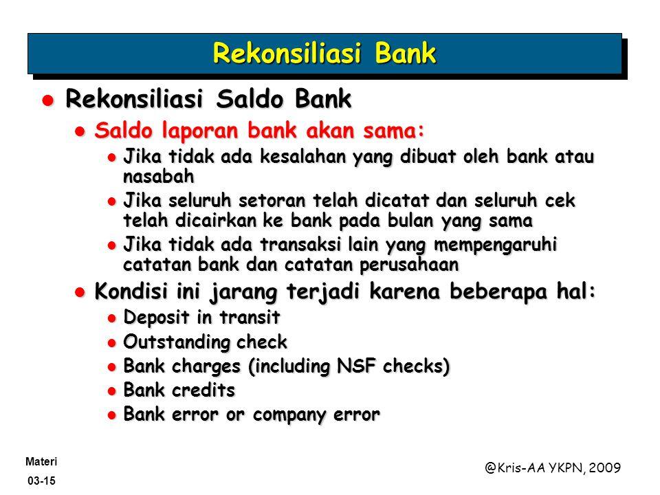 Rekonsiliasi Bank Rekonsiliasi Saldo Bank