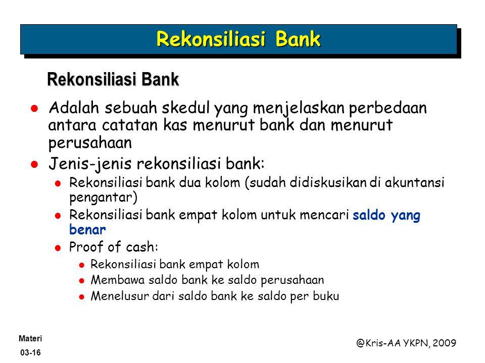 Rekonsiliasi Bank Rekonsiliasi Bank
