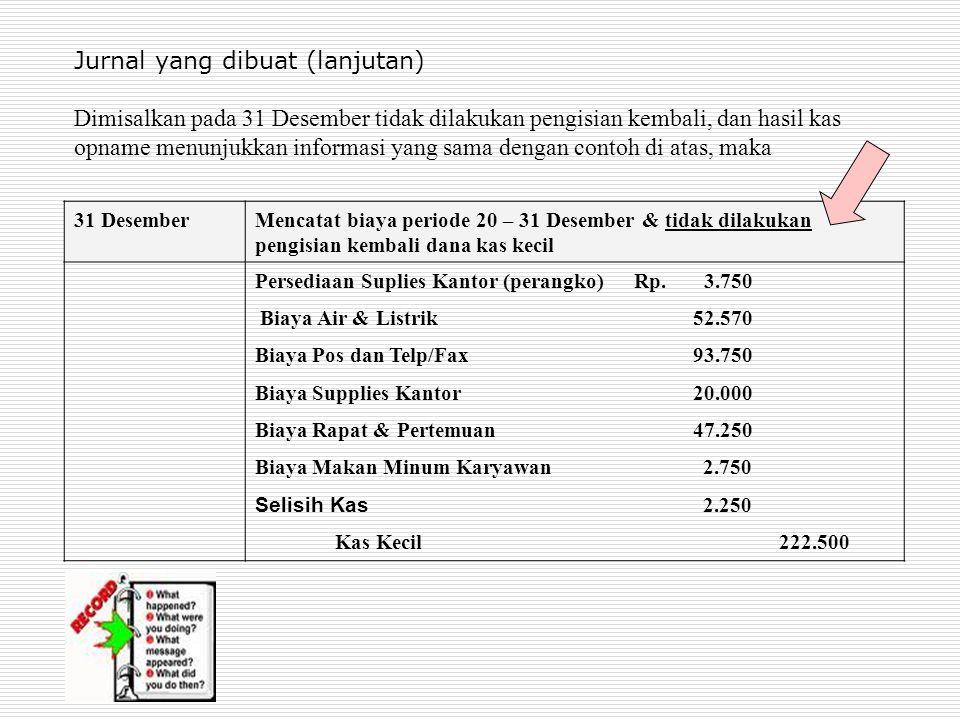 Jurnal yang dibuat (lanjutan) Dimisalkan pada 31 Desember tidak dilakukan pengisian kembali, dan hasil kas opname menunjukkan informasi yang sama dengan contoh di atas, maka