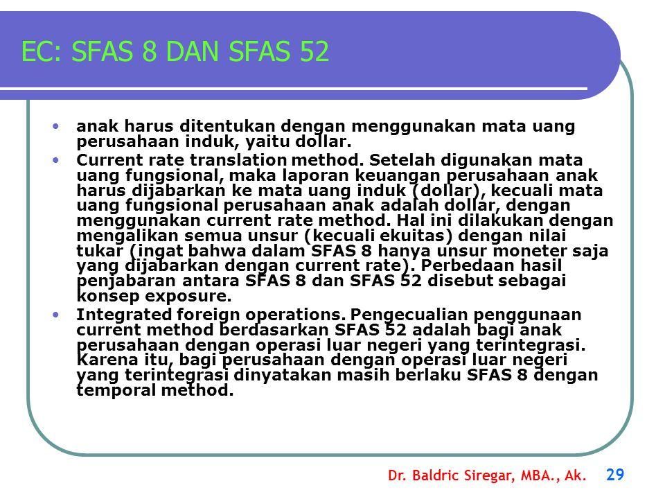 EC: SFAS 8 DAN SFAS 52 anak harus ditentukan dengan menggunakan mata uang perusahaan induk, yaitu dollar.