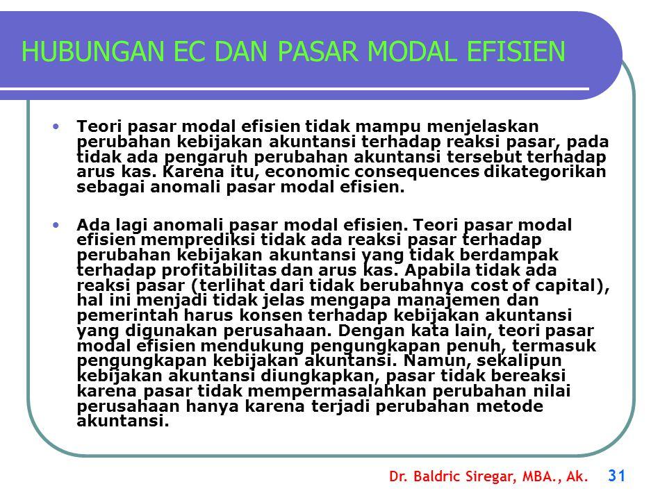 HUBUNGAN EC DAN PASAR MODAL EFISIEN