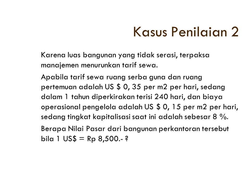 Kasus Penilaian 2 Karena luas bangunan yang tidak serasi, terpaksa manajemen menurunkan tarif sewa.