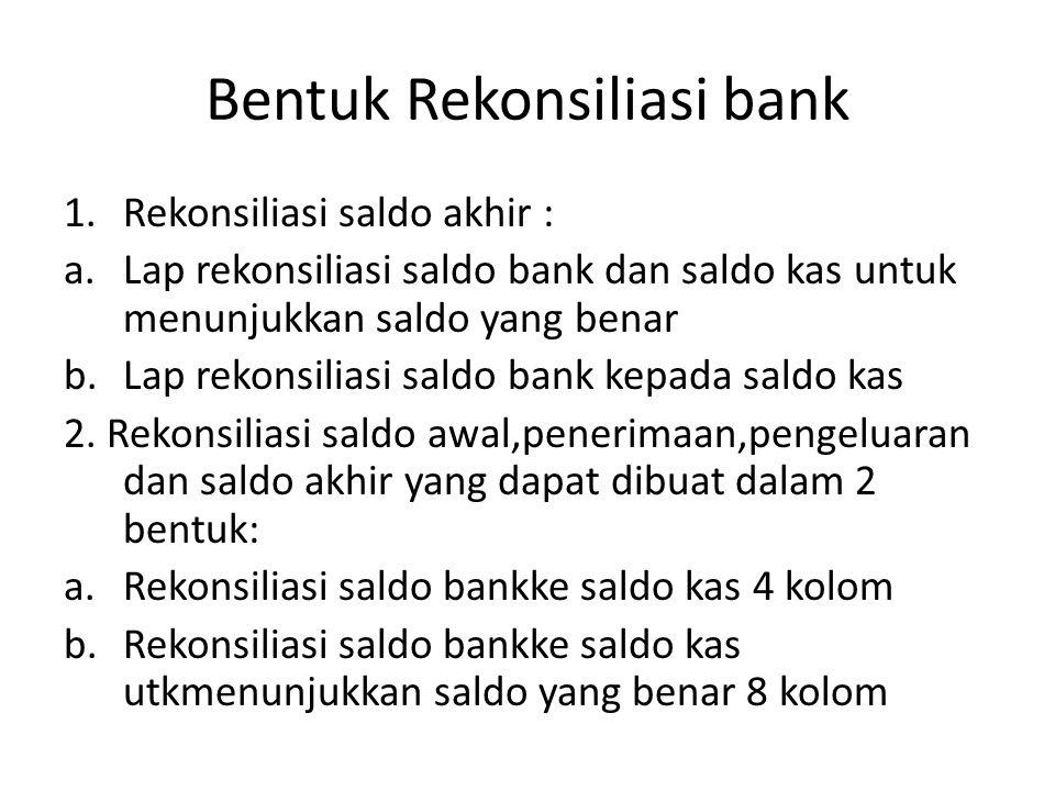 Bentuk Rekonsiliasi bank