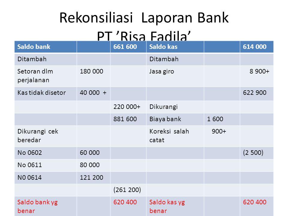 Rekonsiliasi Laporan Bank PT 'Risa Fadila'