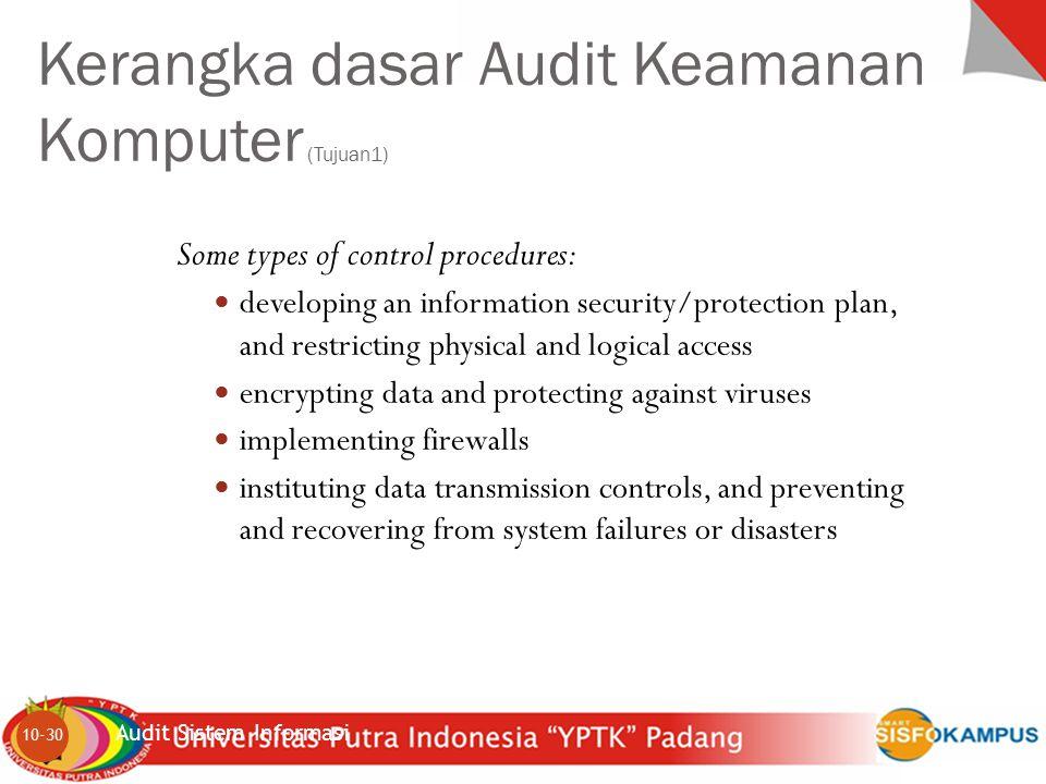Kerangka dasar Audit Keamanan Komputer (Tujuan1)