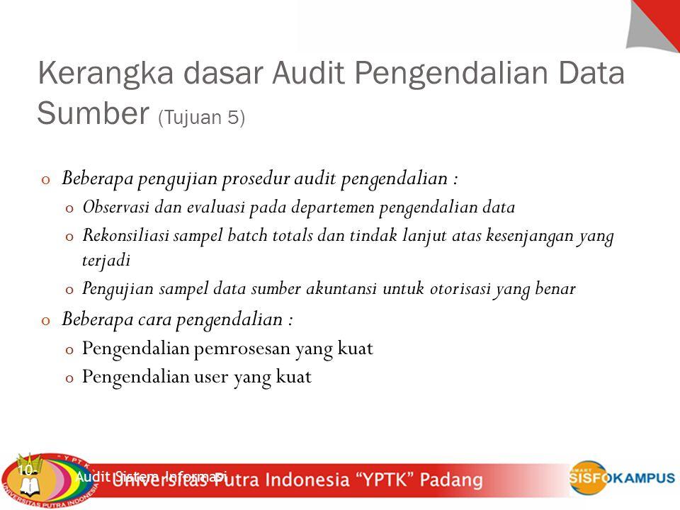 Kerangka dasar Audit Pengendalian Data Sumber (Tujuan 5)