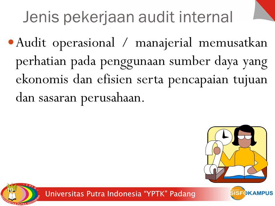 Jenis pekerjaan audit internal