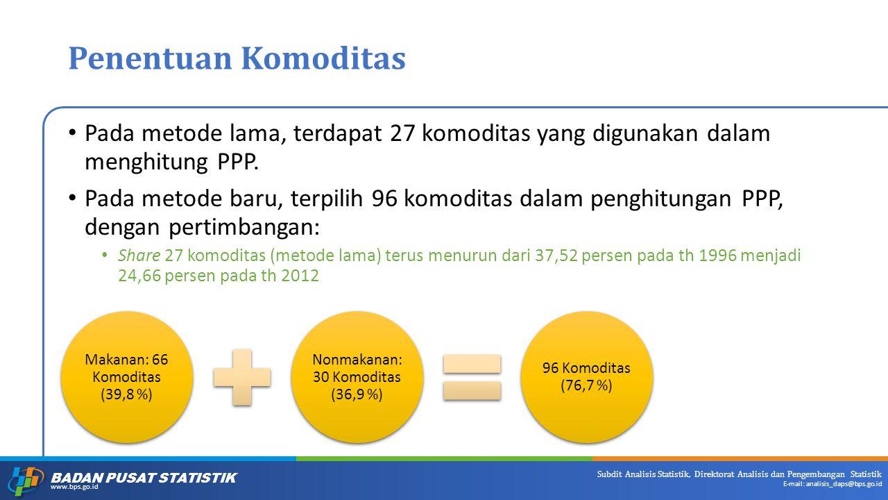 Penentuan Komoditas Pada metode lama, terdapat 27 komoditas yang digunakan dalam menghitung PPP.