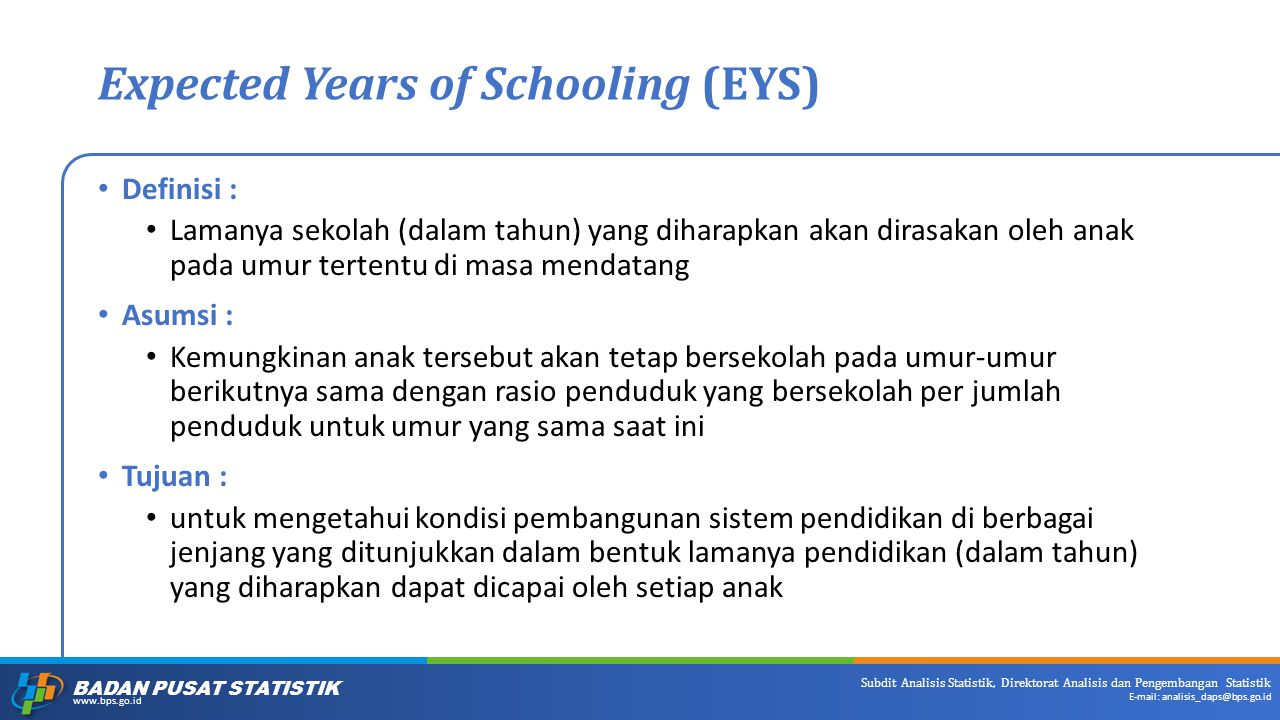 Expected Years of Schooling (EYS)