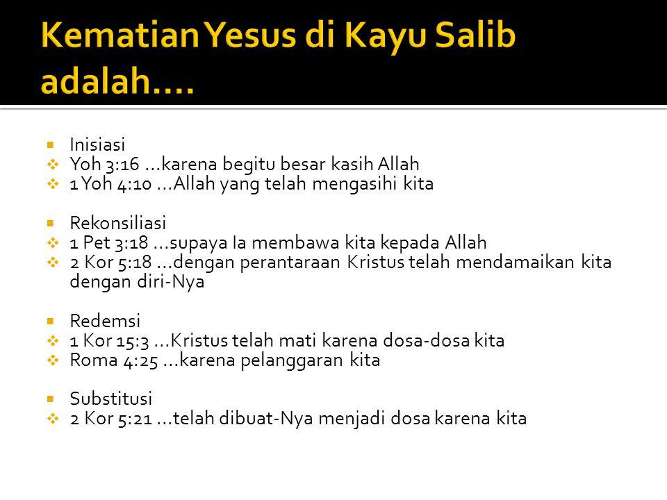 Kematian Yesus di Kayu Salib adalah….