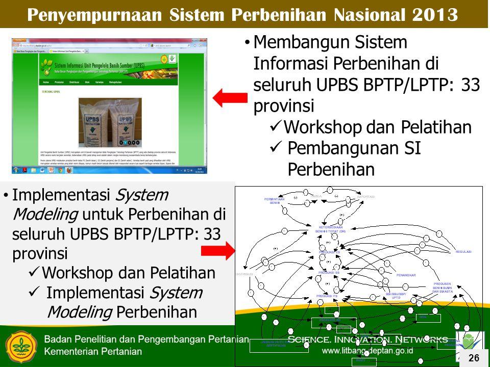 Penyempurnaan Sistem Perbenihan Nasional 2013