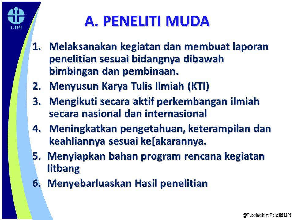 A. PENELITI MUDA Melaksanakan kegiatan dan membuat laporan penelitian sesuai bidangnya dibawah bimbingan dan pembinaan.